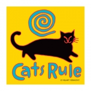 Print, Cats Rule, black cat copyright Hillary Vermont