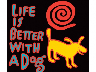 Black Unisex Tee, Yellow Dog LIFE is BETTER with a DOG, copyright Hillary Vermont