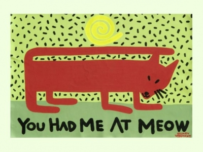 T2, Cat Art Print / You Had Me At Meow copyright Hillary Vermont