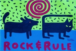 Rock and Rule acrylic painting in black wood frame 11″ x 17″ copyright Hillary Vermont