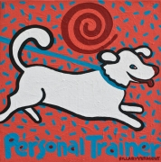 Commission Your Personal Trainer 12″x12″ acrylic on canvas copyright Hillary Vermont