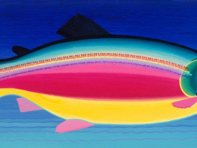 The Rainbow Trout 6 feet w x 3 feet h Original Acrylic Painting copyright Hillary Vermont