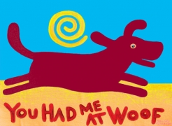 Tee, red/brown dog, You Had Me at Woof copyright Hillary Vermont