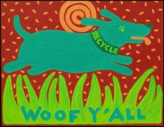 Woof Y'All green dog giclee print on canvas, 30″, Recycle the Dog, copyright Hillary Vermont